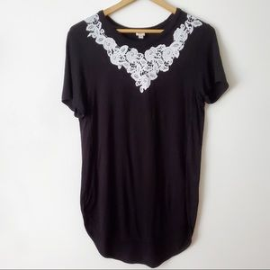ARITZIA WILFRED Knit Top Black White Lace Size S